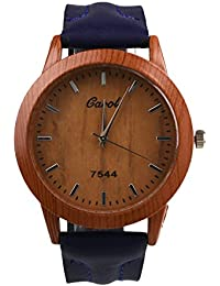 Abeillo 木製ウォッチ ウッドウォッチダイヤル レザーストラップの腕時計 クォーツアナログ時計 レトロカジュアル ビッグダイヤル腕時計 青