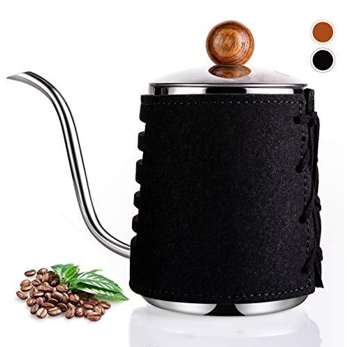 SULIVES ドリップポット コーヒーケトル やかん コーヒー ティーポット ステンレス製 (ブラック, 550ML)