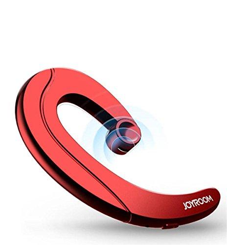 Bluetooth イヤホン ワイヤレス 片耳 高音質 耳掛け型 スポーツイヤホン ワンボタン設計 (レッド)