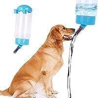 aoleye ペット用給水ボトル 犬水飲み器 猫犬水飲み器 ウォーターボトル ゲージに掛けられる 犬 猫 給水器 水飲み 水やり安心してお留守番 プラスチック製 便利 無毒無菌 大容量 操作が簡単で 洗いやすい 300ML (ブルー)