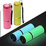 Adecco LLC 9 LED Glow in Dark Flashlights, 4 Pack Rubber Coated Flashlights with Straps, Portable Handy Lights for Camping, H