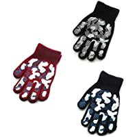 3 Pairs Magic Stretch Knit Gloves, Camouflage Pattern Cold Weather Gloves, Anti-Slip Rubber Design Warm Gloves For 4-8 Years Kids boys & girls TMANGO