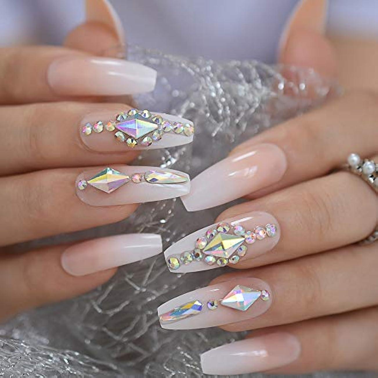 シュガー眠り修正するXUTXZKA ロング3D ketグリッターピンクヌードフェイクネイルGradeint Natrual Press on Finger Wear Nails