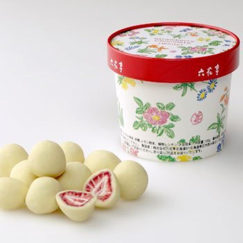 レタスクモ屋内六花亭 ストロベリーチョコ ホワイト 100g お土産袋入り (1個)