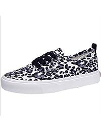Sadovug レディースキャンバスシューズレオパードパターンキャンバスシューズ女性クラシックキャンバスシューズ学生靴 (Color : ブラック, サイズ : 35)