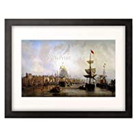 Mozin, Charles Louis,1806-1862 「Hafen von Rouen. 1855」 額装アート作品