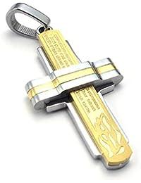[テメゴ ジュエリー]TEMEGO Jewelry メンズステンレススチールヴィンテージペンダントゴシッククロス主の祈りネックレス、ゴールデンシルバー[インポート]
