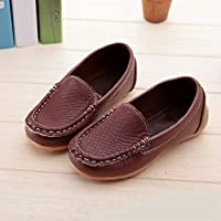 Children Shoes PU Leather Soft Comfortable Loafers Slip Kids Shoes, Size:21(White) Children Shoes (Color : Brown)