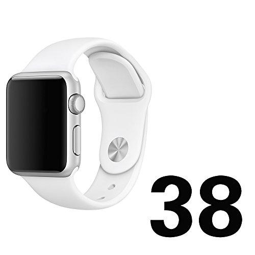 Apple Watch Band、 Otmake Apple Watch バンド 軟質シリコン製 アップルウォッチ バンド スポーツ型バンド 交換用ストラップfor Apple Watch Nike+/ Series1 /Seriies 2 全機種対応  (38mm-white)
