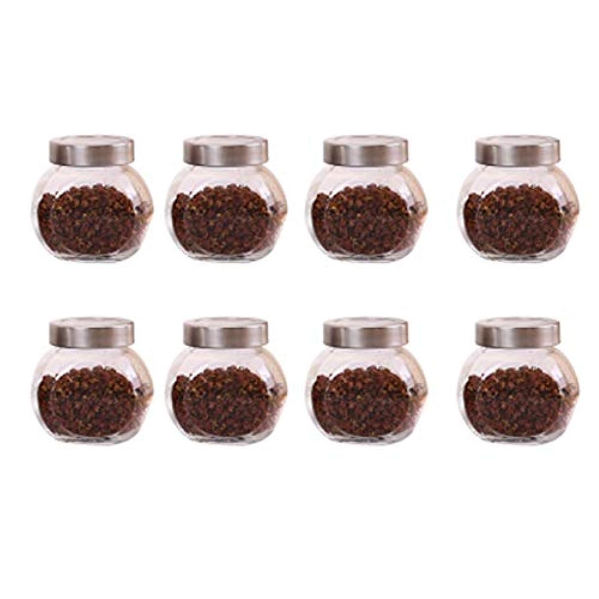 8個の鉛フリーガラスドライフルーツシール保湿ストレージジャーのストレージジャーパック(8パック)