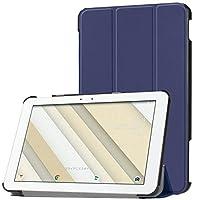 TOYOSO Qua tab QZ10 KYT33 タブレット ケース 2018新型 au Qua tab QZ10 KYT33 カバー スタンド機能付き 保護ケース 三つ折 マグレット開閉式 薄型 (ブルー)