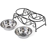Docamor ペットボウルスタンドセット フードボウル ごはん皿 ペット食器 お水と餌入れ 猫 犬用 食器台 スタンド付き 食品用ステンレス製 清潔感 安定性 お手入れ簡単