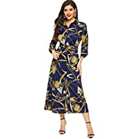 Milumia Women Floral Chain V Neck Collar Knot Tie Belted Button Down Split Hem Long Sleeve Maxi Shirt Dress