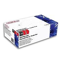 SHIELD BLUE P/F LATEX GLOVES L PK100