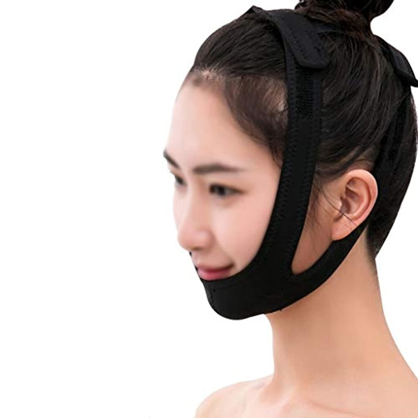トランペット作動する充実フェイシャルリフティングマスク、医療用ワイヤーカービングリカバリーヘッドギアVフェイスバンデージダブルチンフェイスリフトマスクブラック