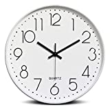 Wall Clock Modern 12 inch Battery Operated Non-Ticking Silent Sweep Movement Wall Clock Decorative for Office, Kitchen, Living Room, Bedroom, Bathroom Plastic Frame Glass Cover (White and Black)