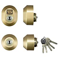 LIXIL(リクシル) TOSTEM ドア錠セット(ユーシン Wシリンダー) ゴールド DGZZ2035