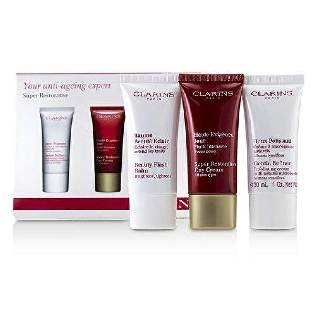 一口フィットこれらクラランス Super Restorative 50+ Anti-Ageing Skincare Set: Gentle Refiner 30ml+Super Restorative Day Cream 30ml+Beauty Flash Balm 30ml 3pcs並行輸入品