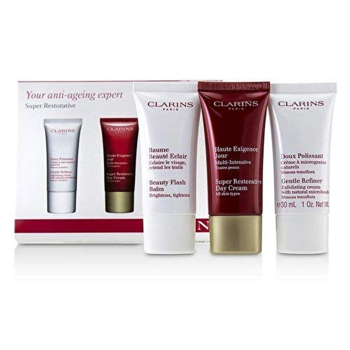 幼児先住民面倒クラランス Super Restorative 50+ Anti-Ageing Skincare Set: Gentle Refiner 30ml+Super Restorative Day Cream 30ml+Beauty...