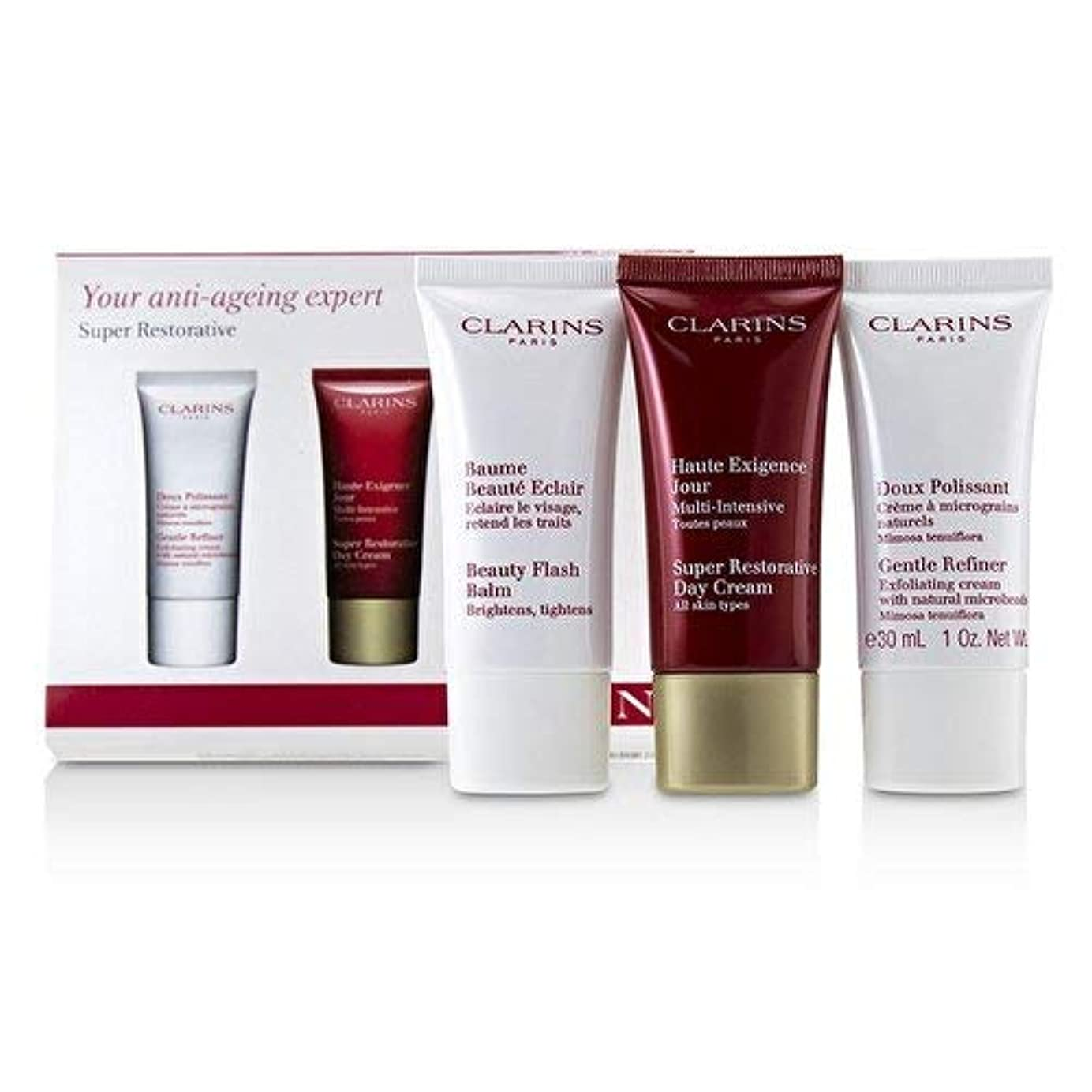 ソケット自宅で温度クラランス Super Restorative 50+ Anti-Ageing Skincare Set: Gentle Refiner 30ml+Super Restorative Day Cream 30ml+Beauty...