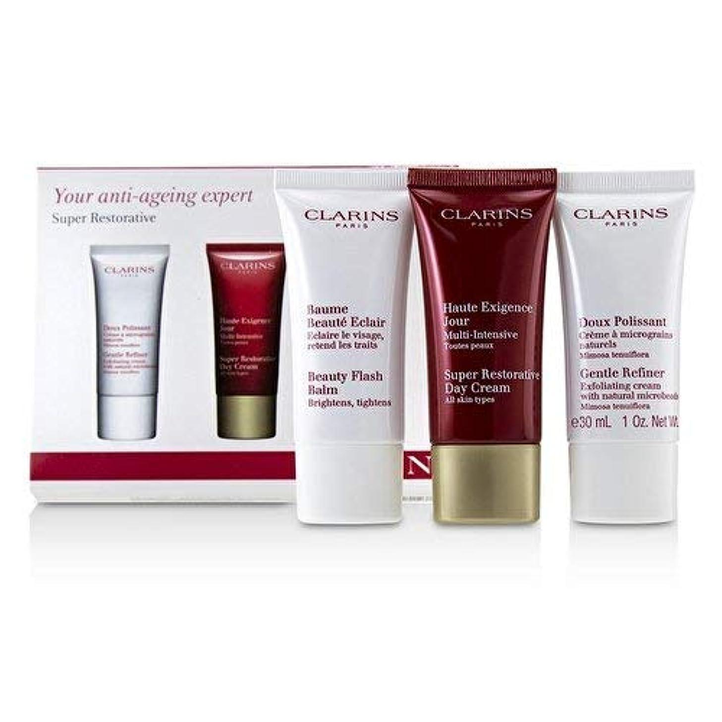 先史時代の眠いです汚物クラランス Super Restorative 50+ Anti-Ageing Skincare Set: Gentle Refiner 30ml+Super Restorative Day Cream 30ml+Beauty Flash Balm 30ml 3pcs並行輸入品