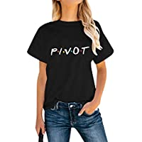 AEURPLT Friends Shirt Womens Pivot Funny Cute Short Sleeve T Shirts Graphic Tee Tops