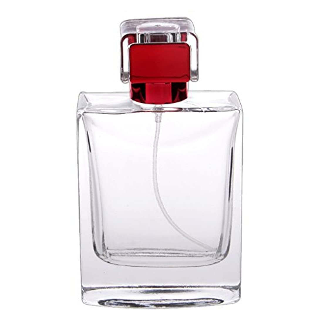 推定罰寄付するノーブランド品  100ml  矩形 香水瓶 スプレーボトル アトマイザー 詰め替え 旅行携帯便利  - 赤