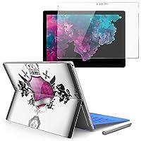 Surface pro6 pro2017 pro4 専用スキンシール ガラスフィルム セット 液晶保護 フィルム ステッカー アクセサリー 保護 クール ライオン クラウン 王冠 005621