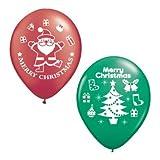 【クリスマスバルーン】チャーミィパック 28cmサンタ&ツリー ルビーレッド&エメラルドグリーン・4個入り(1パック)  / お楽しみグッズ(紙風船)付きセット