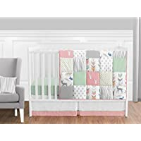 Coral Mint and Grey Woodsy Deer Girls Baby Bedding 11 Piece Crib Set Without Bumper [並行輸入品]