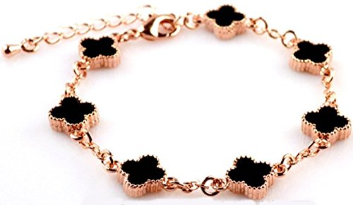 [해외]crbelte (쿠라베루테) 클로버 간단한 팔찌 핑크 골드 블랙 여성 RBRESS14K/crbelte (Crovelte) Clover Simple Bracelet Pink Gold Black Ladies RBRESS 14K
