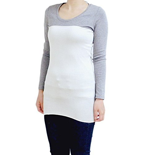 上質シルク100%腹巻 55cm ロング丈 日本製 光沢がある絹紡糸を100%使用。温活・妊活応援アイテム (オフホワイト)