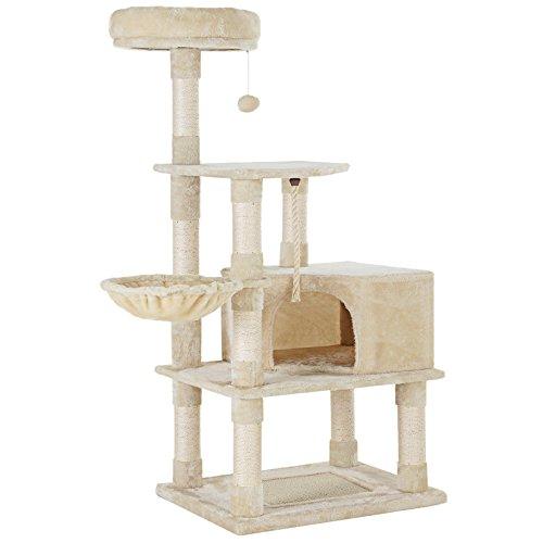 SONGMICS キャットタワー 猫タワー 爪とぎ 麻紐 猫ハウス ふわふわ手触り 寝心地よい ベージュ