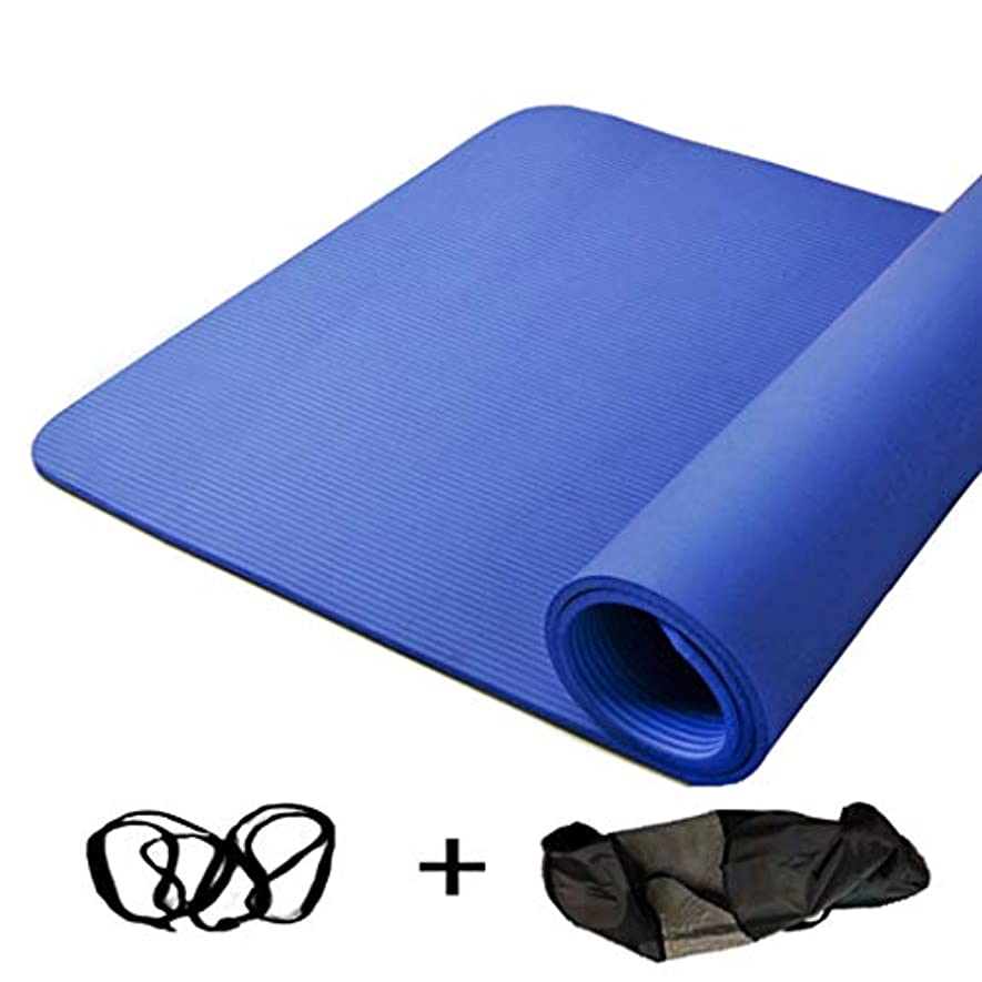 前置詞疾患画面寝袋アウトドアアウトドアブッシュスリーシーズンキャンプ キャリングストラップ200 * 130 cm * 10 mm / 15 mmで広がる高密度ヨガマット余分厚いノンスリップフィットネスクッション で利用できる単一の二重色 (サイズ さいず : 青-Strap rope+bag, サイズ さいず : 10mm)