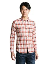 Linen Cotton Madras Buttondown Shirt 1211-149-5000: Orange