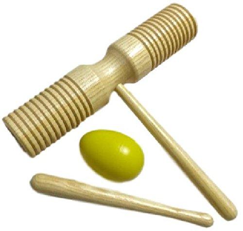 Spielepark ハンド ウッドブロック 打楽器 ギロ 木製 バチ付 パーカッション 卵シェーカー セット (02 Type B)