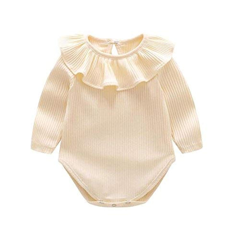 qighaima ベビー服 ロンパース かわいい 新生児サイズ 男の子 女の子 長袖 無地 綿 カバーオール ワンピース 赤ちゃん 柔らかい おしゃれ あんよしはじめる (ベージュ, 73(9~12ヶ月))90(18~24ヶ月)|ベージュ