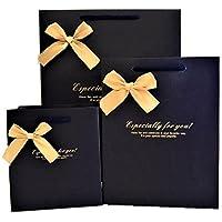 pkpohs ギフトバッグ [5枚セット + メッセージカード] 選べる サイズ カラー プレゼント ラッピング 紙袋 手提げ袋 M リボン付ネイビー m