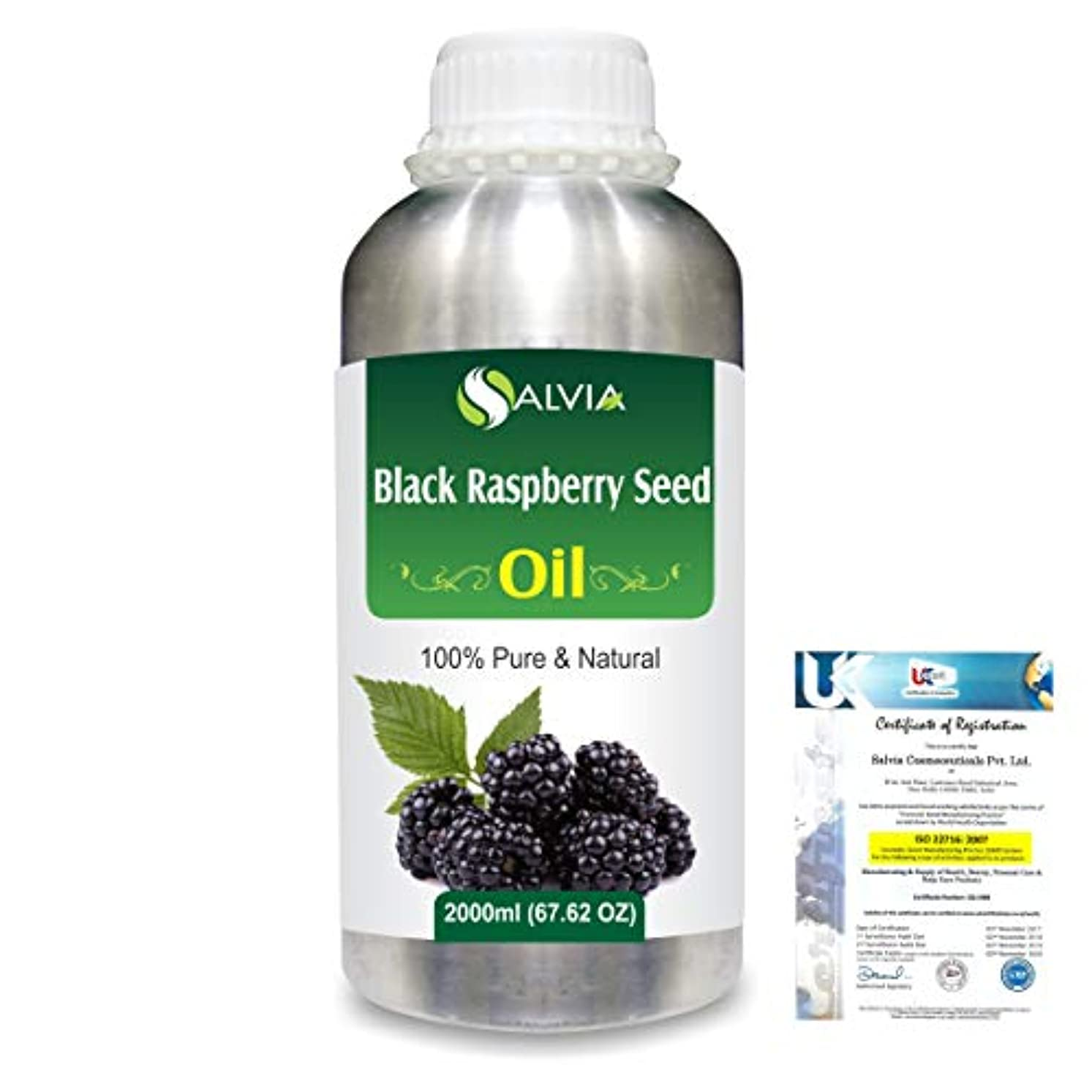 Black Raspberry Seed (Rubus occidentalis)100% Natural Pure Carrier Oil 2000ml/67 fl.oz.