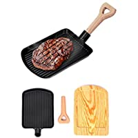 Steak Bulsap キャンピング 鋳物焼肉用 鋳物 金網 ショベル模様 ステーキ バーベキュー グリルパン 鉄板料理 海外直送品 (Camping casting Iron Fire Grill Pan Shape of shovel Steak Barbecue Grill Hot plate dish Cooking) (L)