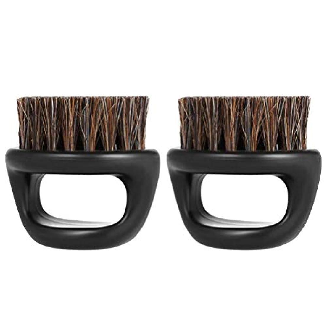 アミューズ生き残り品種Lurrose イノシシ剛毛ひげブラシハンドルひげブラシポータブルプラスチックメンズショートシェービング(ブラック)2PCS