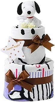 スヌーピー(snoopy) 出産祝い 2段 おむつケーキ 身長計付きバスタオル ホワイト ぬいぐるみ 女の子 男の子 男女兼用 ピーナッツ PEANUTS