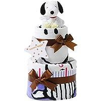 スヌーピー(snoopy) 出産祝い 2段 おむつケーキ 身長計付きバスタオル ホワイト ぬいぐるみ 女の子 男の子 男女兼用 ピーナッツ PEANUTS (パンパースはじめての肌へのいちばん(テープタイプSサイズ))