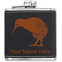 フェイクレザーフラスコ – Kiwi Bird – カスタマイズ彫刻Included (ブラック)