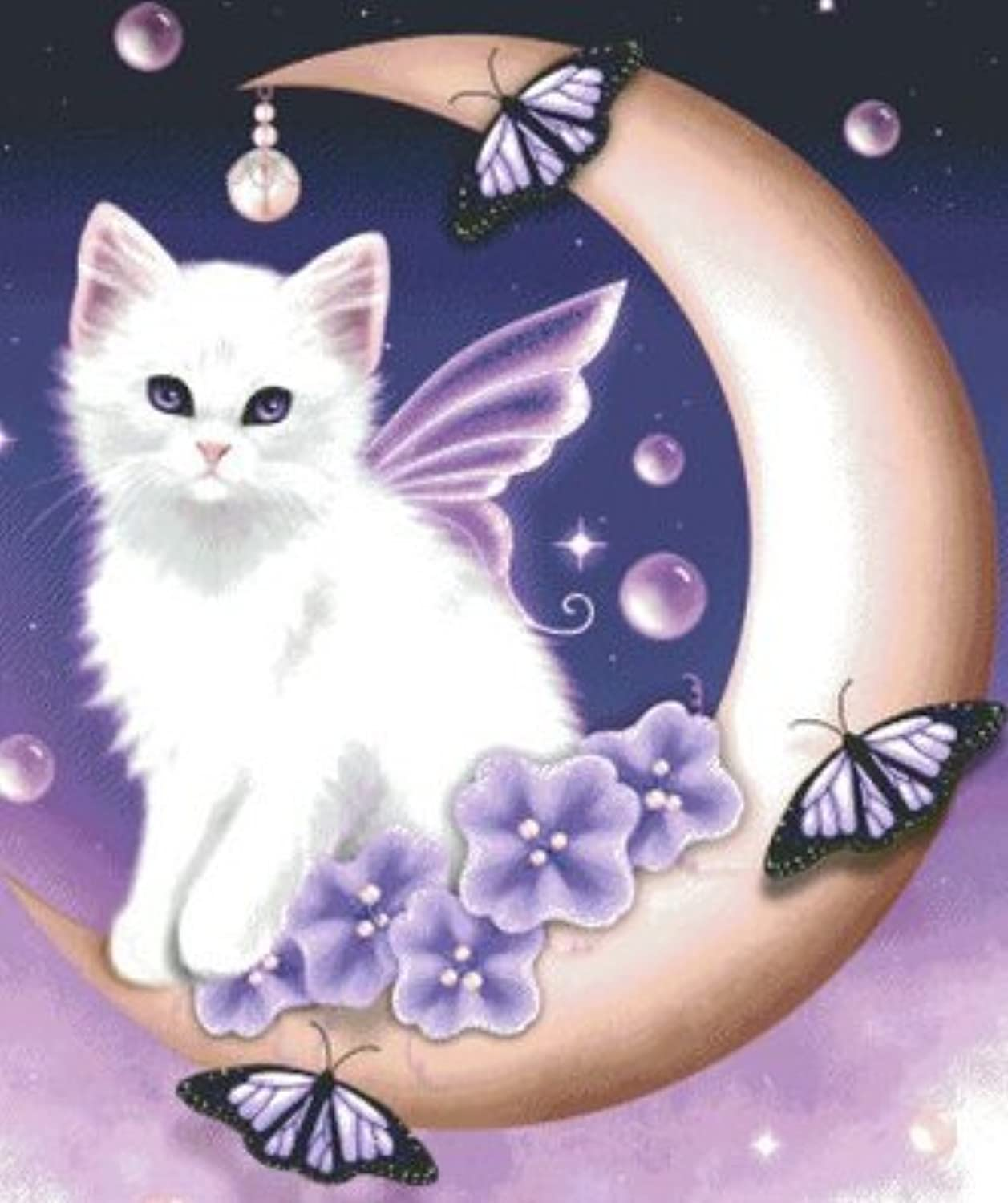 Qihu's 5d Crystal Diamond Painting DIY Counted Paint By Number Kits, Kitten Lovely Cute Cartoon Angel Cat by Qihu [並行輸入品]