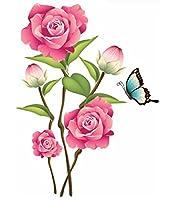 YueLian ウォールステッカー 花 フラワー シール 蝶 壁飾り インテリア トイレ キッチン 背景(ローズレッド)