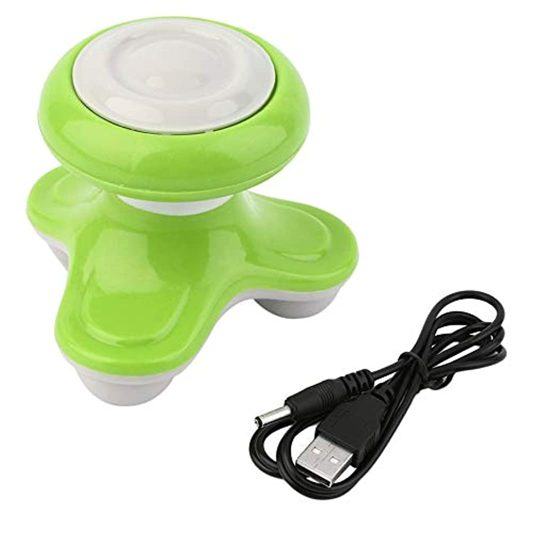 肘掛け椅子侮辱実証するミニ電動ハンドル波振動マッサージ器USBバッテリーフルボディマッサージ持ち運びに便利な超小型軽量-グリーン