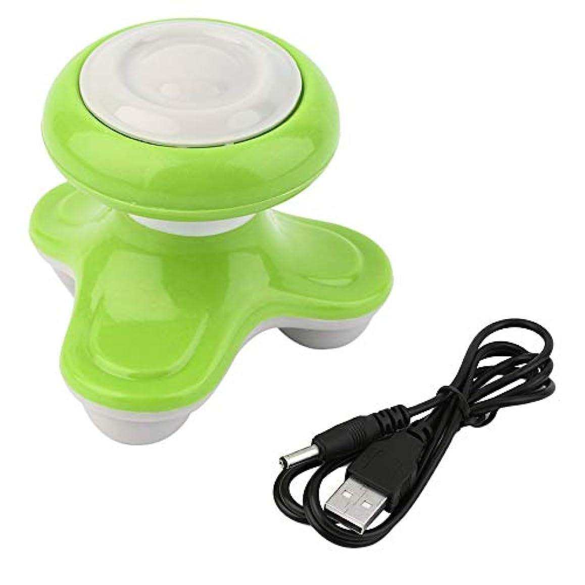 怒り十二ルーフミニ電動ハンドル波振動マッサージ器USBバッテリーフルボディマッサージ持ち運びに便利な超小型軽量-グリーン