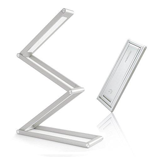 デスクライト MORECOO 電気スタンド LEDデスクライト 折りたたみ式 USBケーブル (50CM)付き 二段階調光 (シルバー)