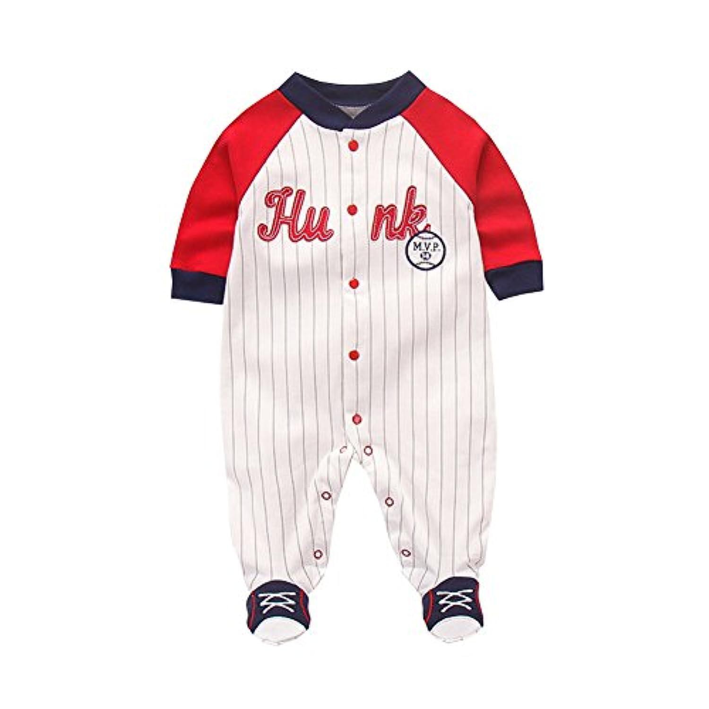 Fairy Baby 野球ユニフォーム ロンパース ベビー服 男の子 足つき 長袖 前開き お出かけ服 縞柄 size 66 (白/赤)